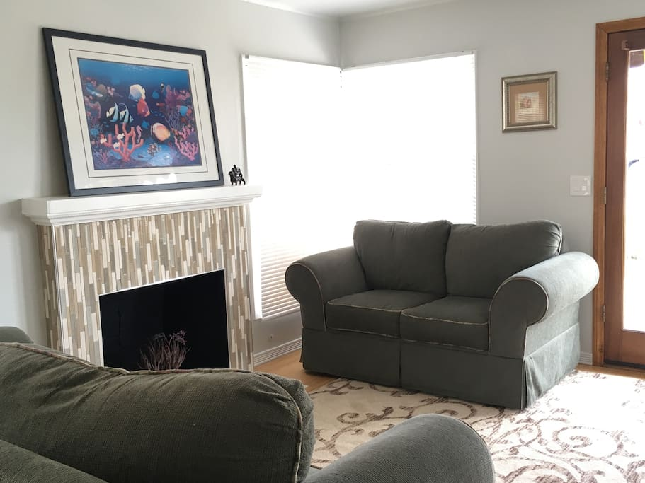 Our cozy living room with fireplace