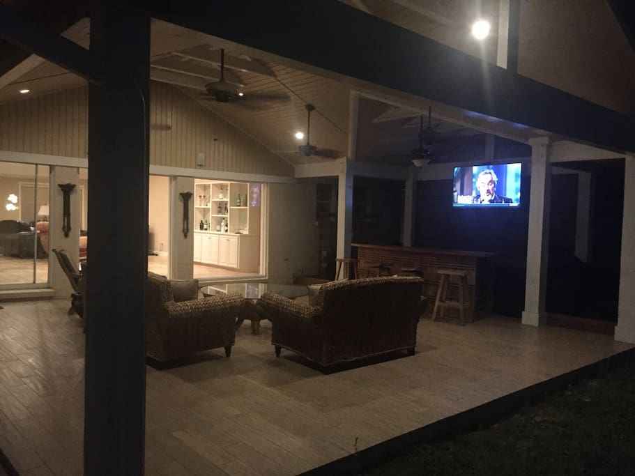 Night time View of Outdoor Patio