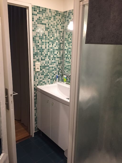 Toilets, shower, mirrors and washbasin