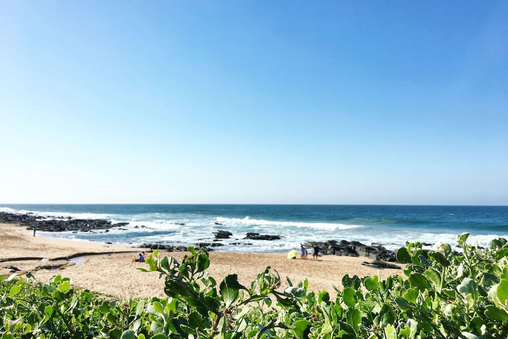A bright, sunny day in Ballito. Here's our beach, Lucky Dip, from the beachfront boardwalk.