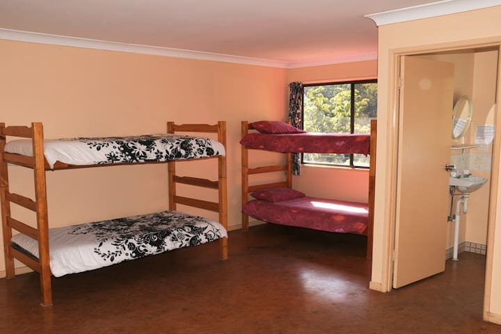 Chalet consists of 7 rooms each with 10 bunks, sep. shower & toilet