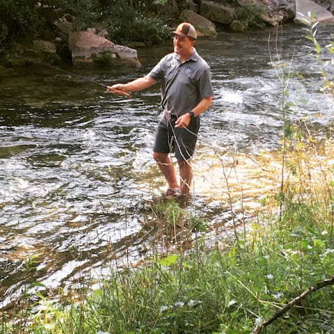 Fly-fishing in Spearfish Creek is literally in our backyard.