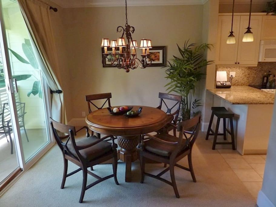 Dining area table has a leaf to seat six