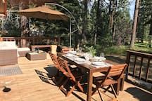 Large back deck with grill, picnic table & lounge area for easy outdoor living (warm months only)