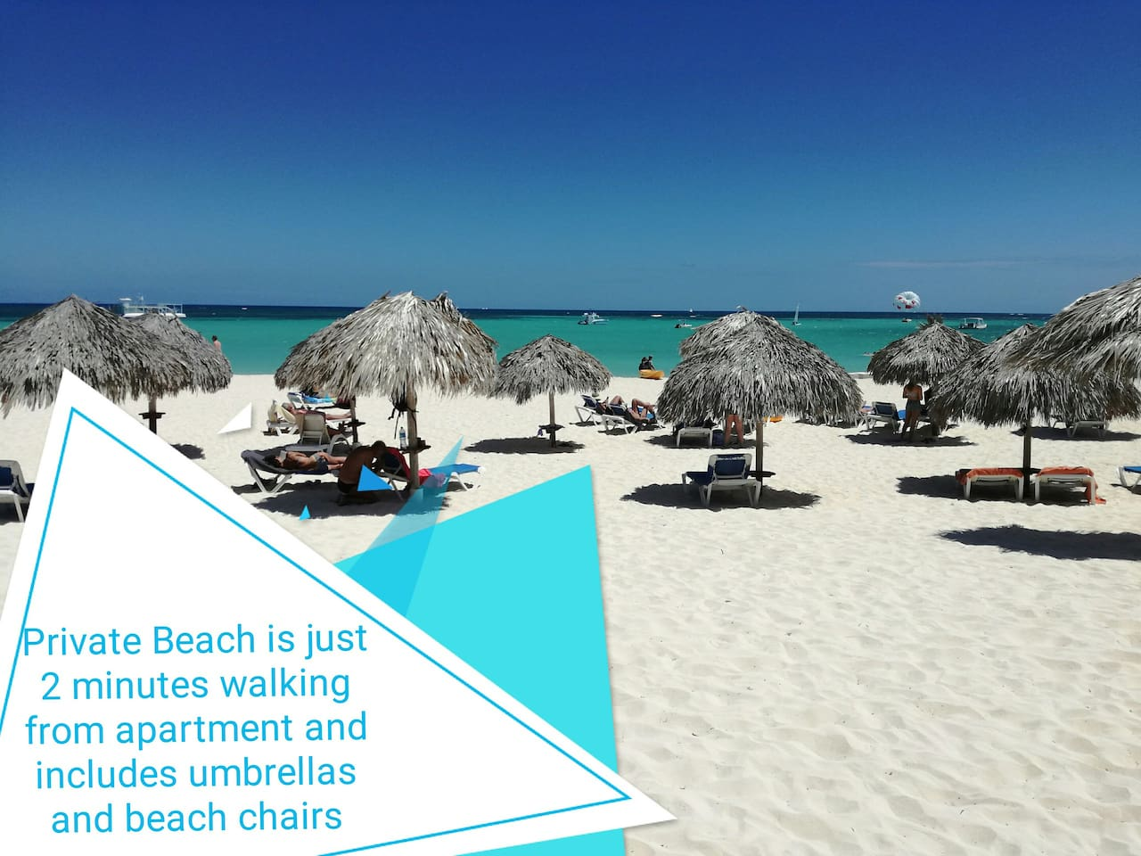 Amazing private beach just 2 minutes walking distance and includes umbrellas and beach chairs for free