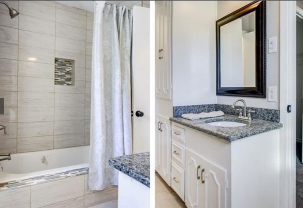 Shared bathroom with sink, toilet & tub/shower combo