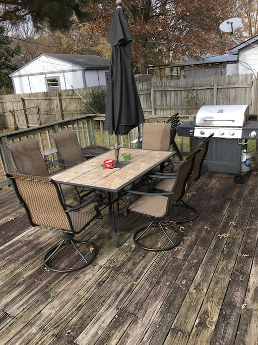 Backyard Deck with BBQ Grill