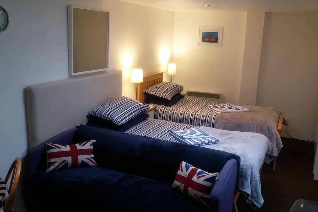 View of the studio, with the Bedroom area setup as 2 single beds