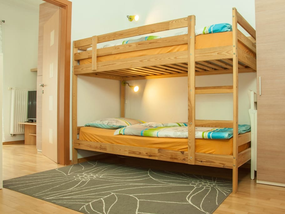 Bunk bed in the kitchen area