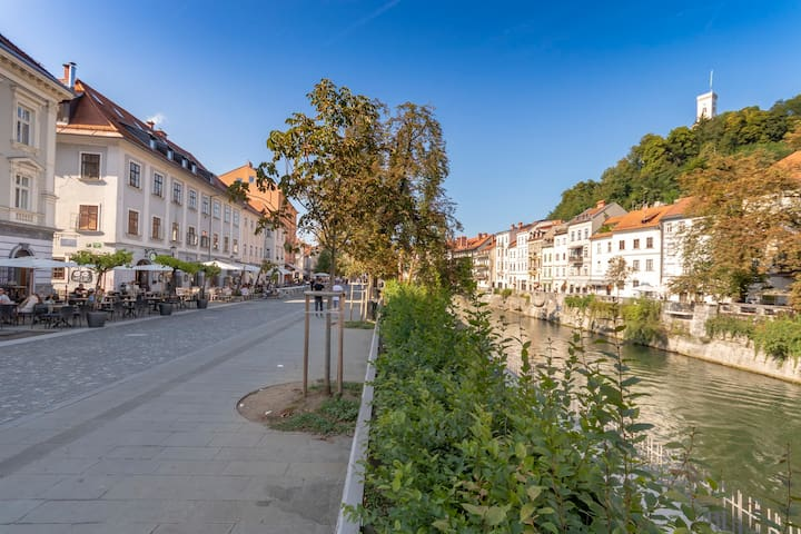 Follow Ljubljanica river and you'll go through the pedestrian zone of the old town, passing the best cafes, restaurants and pubs.