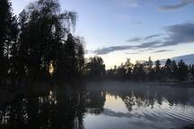 The Mirror Pond (this photo taken on a foggy fall evening) is just down the street