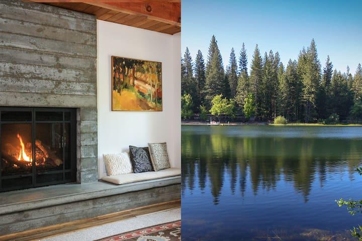 Stylish Lake View Cabin, Swim Summer + Ski Winter