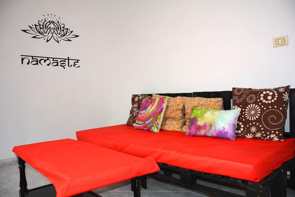 salón sofá palets colchón 200X80