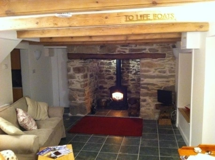 Magnificent Inglenook fireplace with Log burner and Bread oven