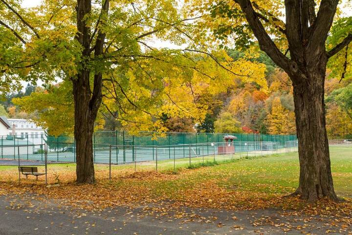 Tennis courts across the street