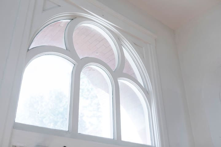 The original windows above the entry door to the lobby.