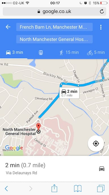 0.7 miles away to north Manchester general hospital, 2mins drive.