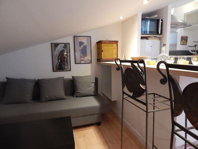 Le salon avec TV, Wifi et un canapé convertible