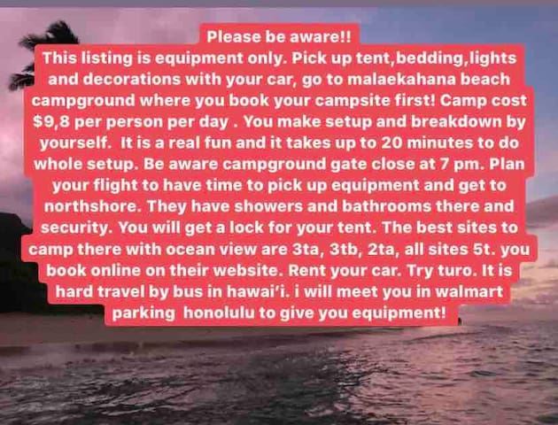 Glamping on Oahu. Camping Equipment only.