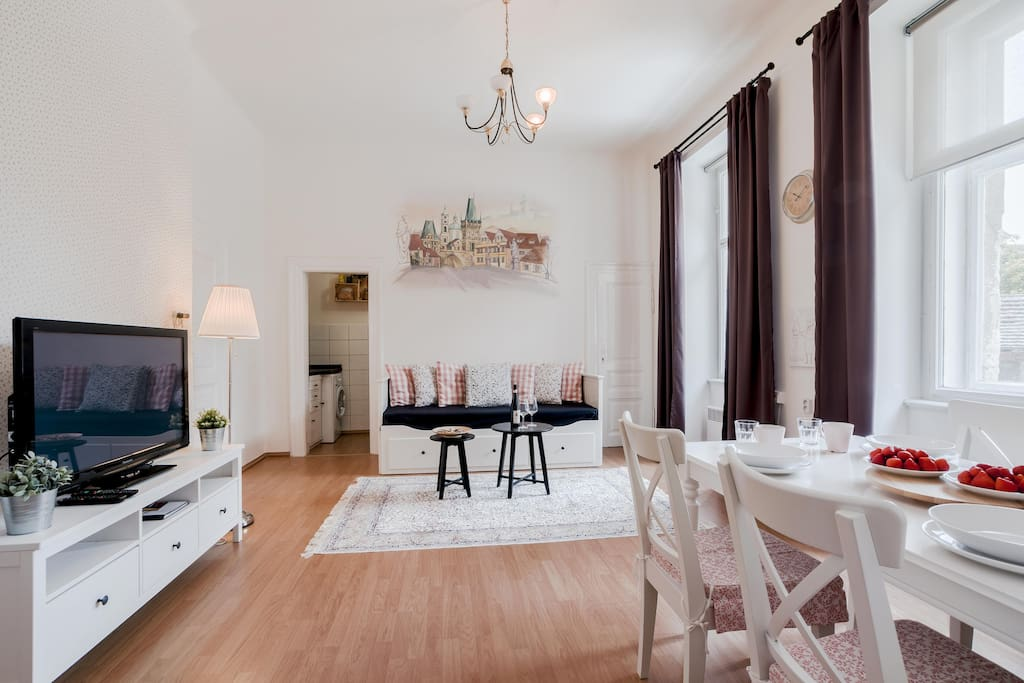 Our lovely apartment is situated in city center which brings you joy to explore Prague with all its main attractions by foot.
