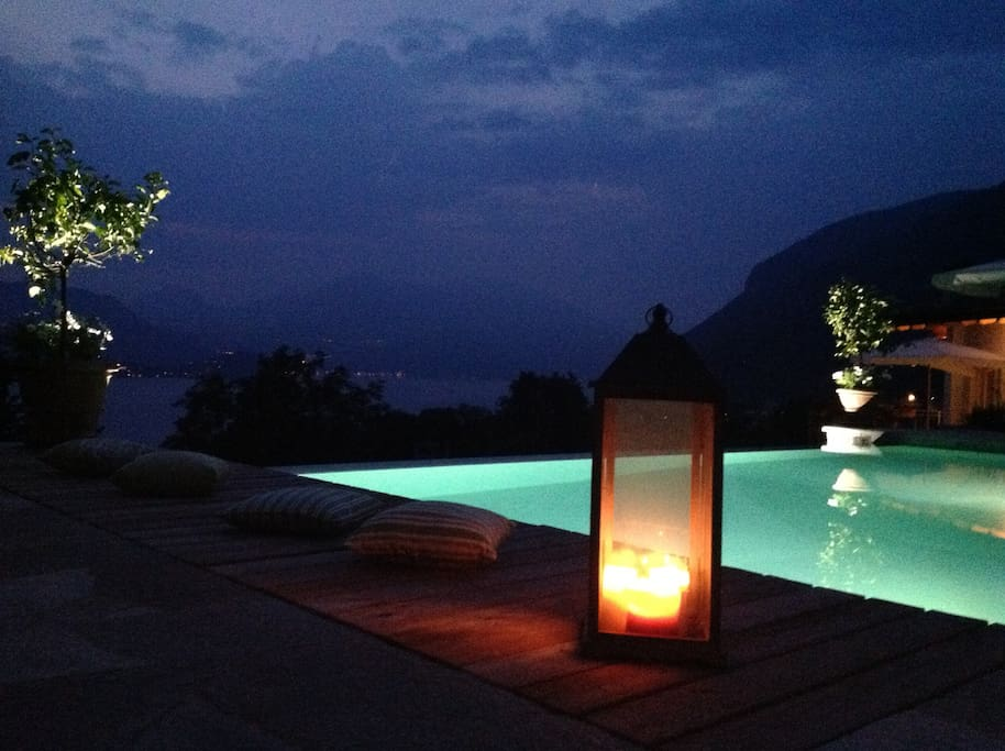 Infinity Pool & lights in the night