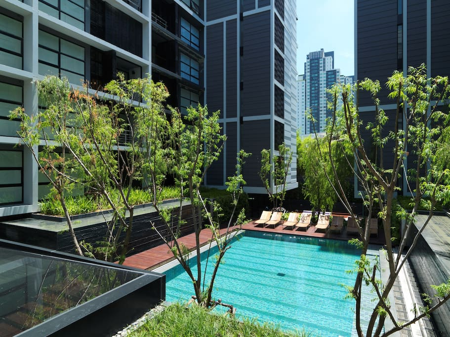 An oasis of lush courtyard with plantings & 15-M pool