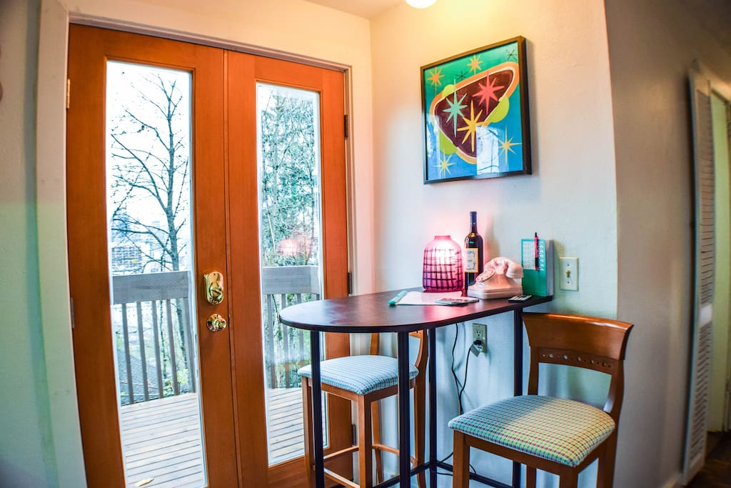 The studios french doors open up to a private patio where you can enjoy the sights and sounds of the city!