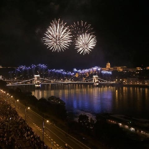 20th August National Day Firework from the balcony.                                Chain Bridge - Buda Castle