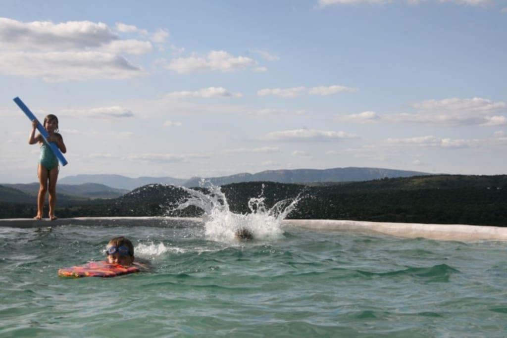 Kids having fun in the dam