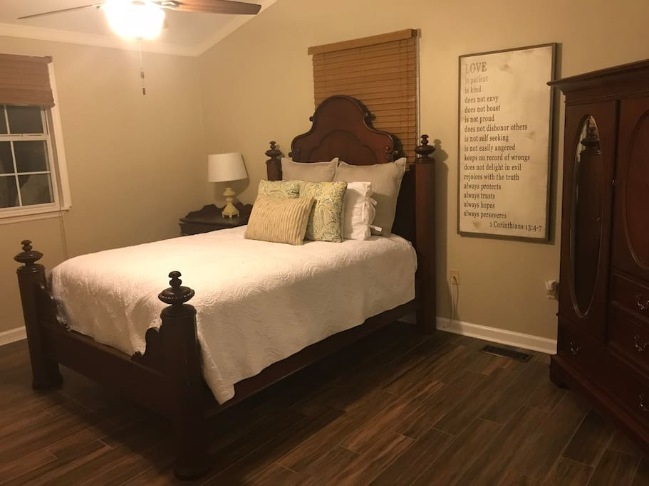 Unwind in a relaxing and comfortable queen bed and extra room to add an air mattress