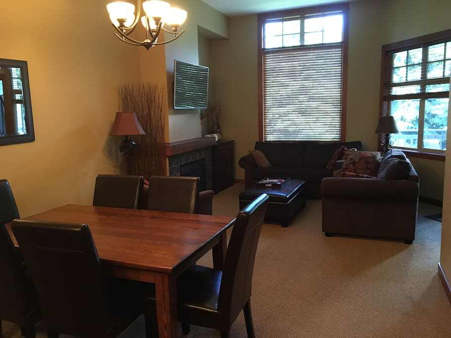 Very comfortable living area with Gas Fireplace and pull out bed