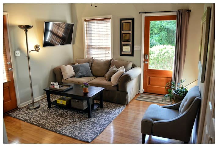 Cozy sitting room with plenty of natural sunlight