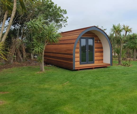 Luxury glamping pods overlooking Mawgan Porth