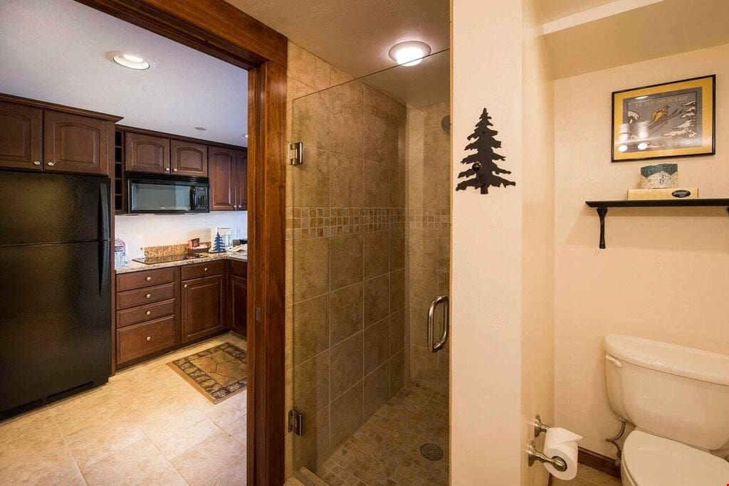 Prepare for the day in the remodelled full bathroom.