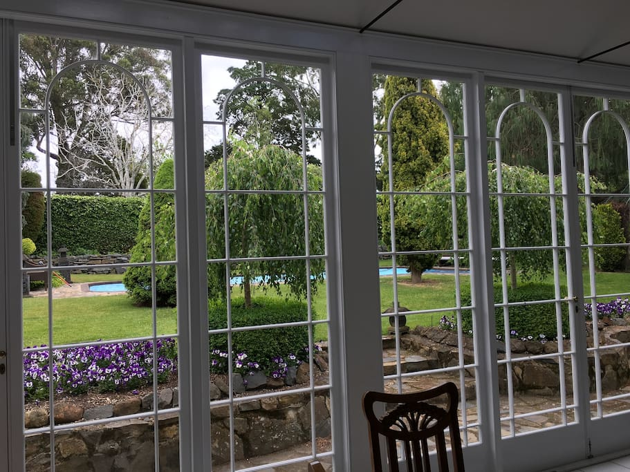 View from Conservatory to Swimming Pool