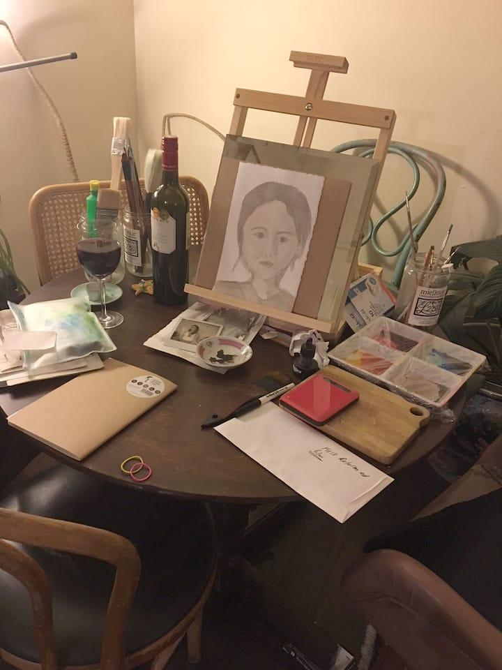 Bohemian Art Studio scene.