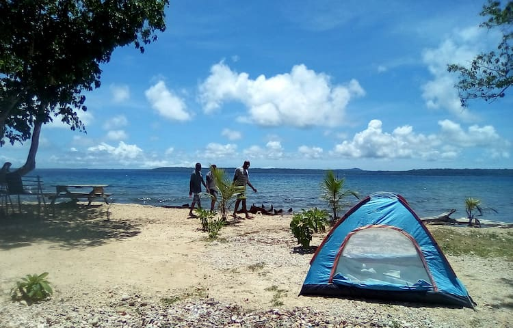 Million Dollar View Beach Camping in rented tent