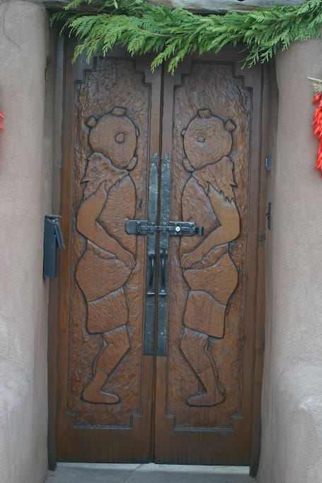 Carved double entry doors