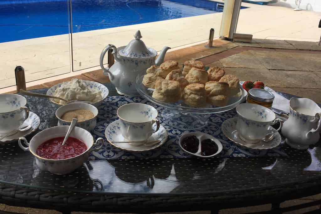 Exquisite afternoon tea poolside - one of the many options if you would like a private chef for the duration of your stay.