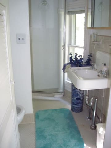 Private bathroom with a stall shower.