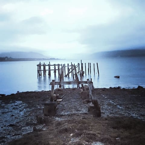A misty morning at The old pier, Port Bannatyne.