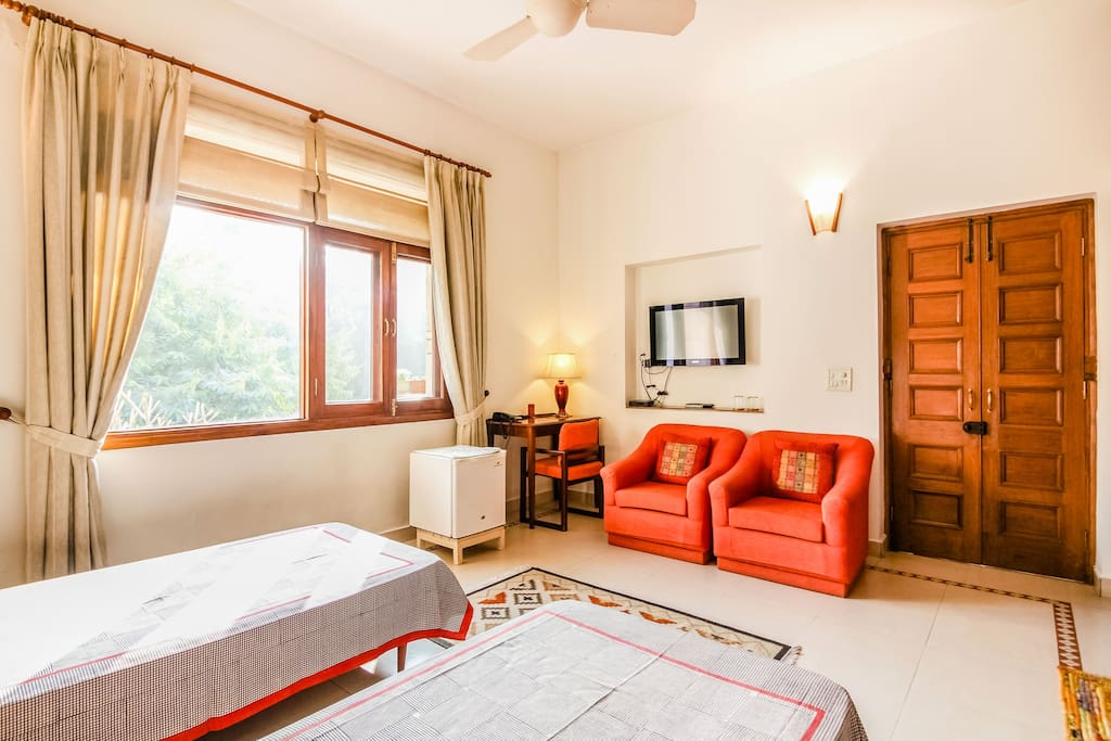 The Large Window allowing ample sunlight in the room + TV + Fridge + 2 single sofas + Study table