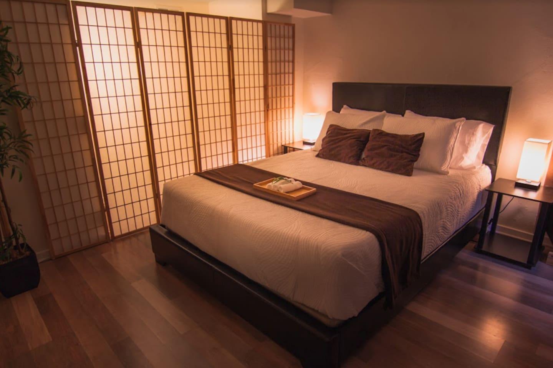 Enjoy the peaceful setting of Zen bedroom