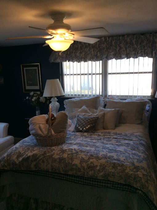 Master bedroom with queen size bed with ensuing bathroom