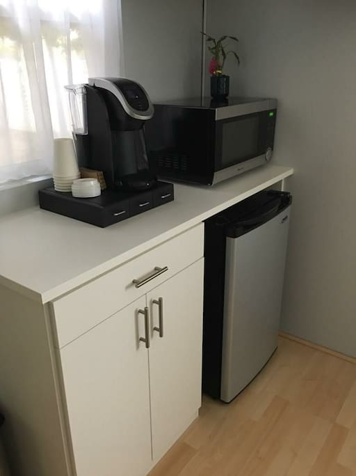 Microwave, refrigerator, and coffee bar