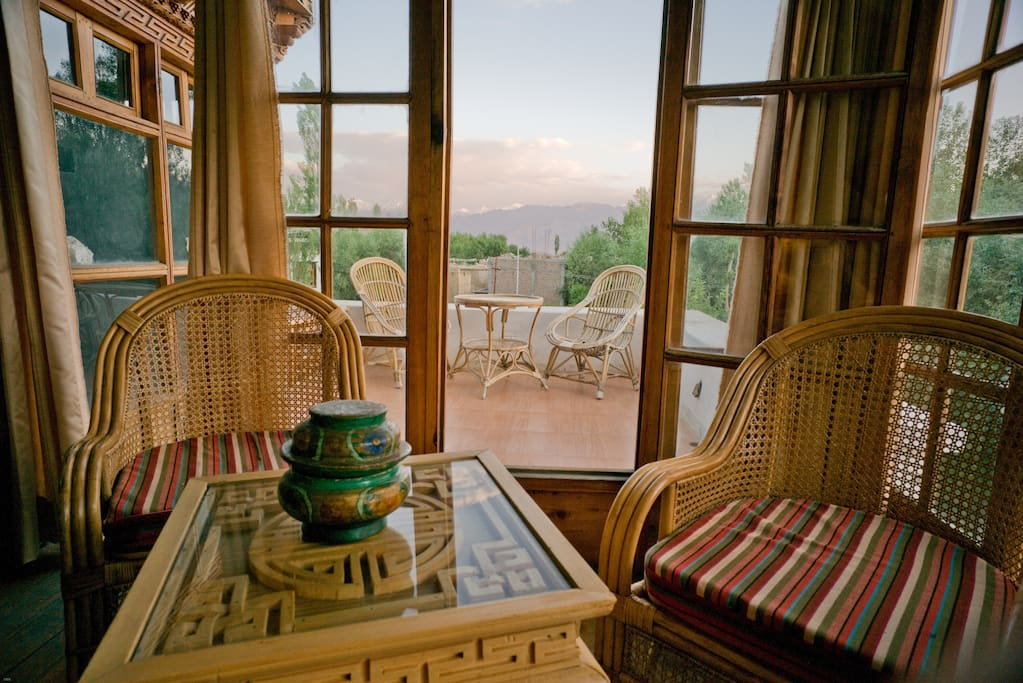 View of the Stok Kangri Range from traditional sunset room.