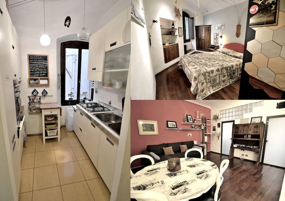 Cucina-Camera da letto-Soggiorno / Kitchen- Bedroom-Living room
