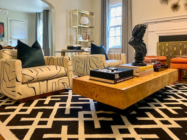 Recovered Iconic Milo Baughman chains and Milo Coffee table with large coffee table books
