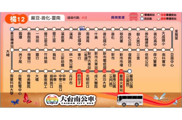 『橘12』台南火車站前站(南站)—約4站—>四份子站—>步行約3分鐘