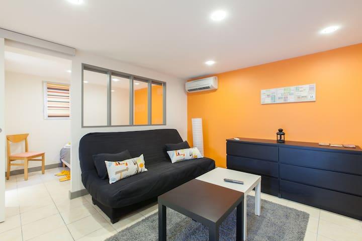 Salon avec clic-clac - main room with second bed - sofa